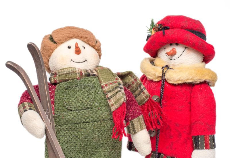 Plushies do esqui do Natal dos bonecos de neve foto de stock
