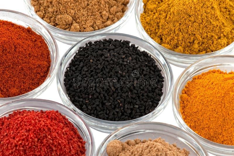 Plusieurs épices d'Indien dans la cuvette de cuvettes en verre images libres de droits