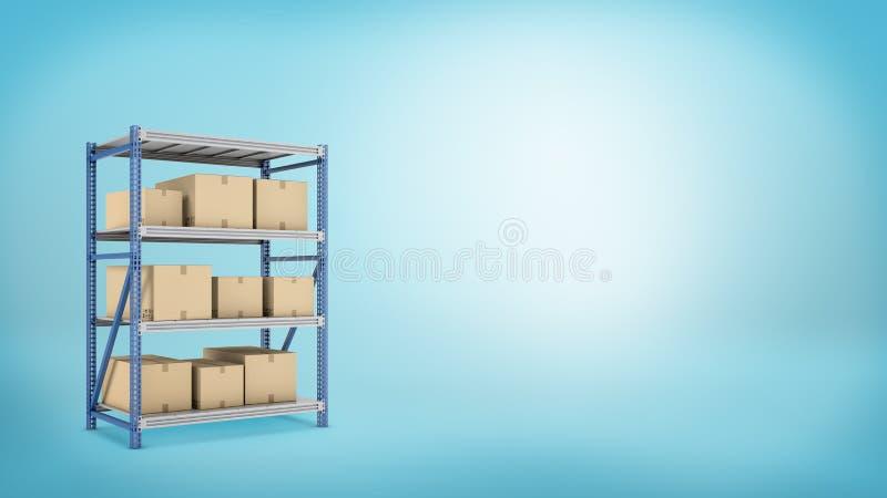 Plusieurs boîtes de carton placées sur un entrepôt en métal étirent sur le fond bleu images stock
