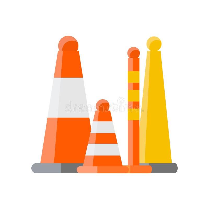 Plusieurs cônes oranges et divers types d'éléments d'arrêts de route sur le blanc illustration de vecteur