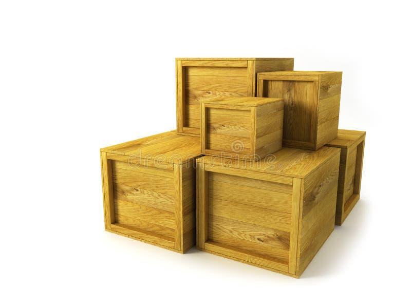 Plusieurs caisses en bois illustration libre de droits