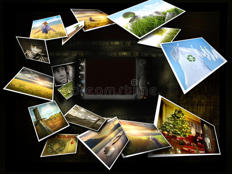Plusieurs images coulant autour d'un appareil-photo illustration libre de droits