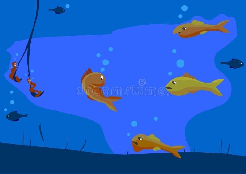 Plusieurs poissons mauvais de poissons beaux et lui font Popasna sur le crochet du pêcheur illustration stock