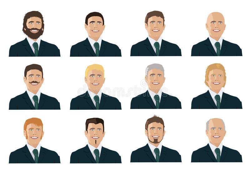 Plusieurs portraits des hommes, de toutes les générations avec différents styles illustration de vecteur