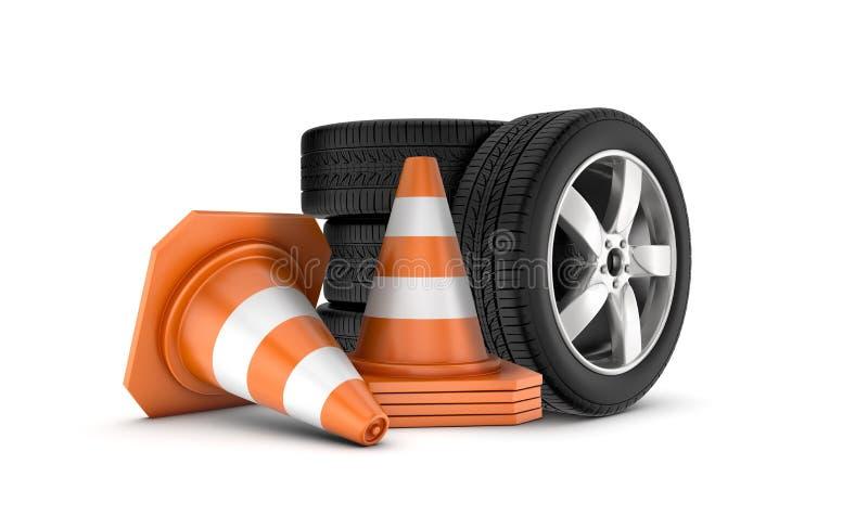 Plusieurs roues de voiture empilées sur une une autre près de plusieurs cônes oranges et blancs du trafic illustration stock