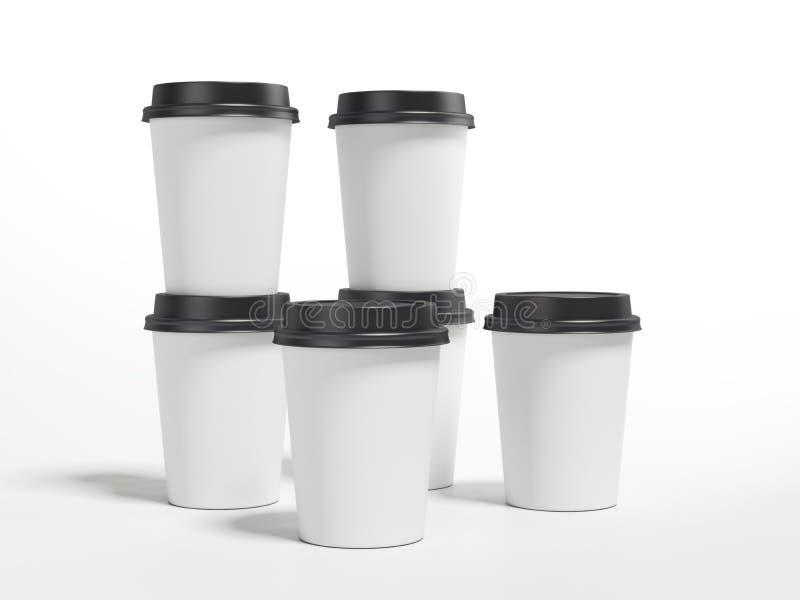 Plusieurs tasses de café blanc rendu 3d illustration libre de droits