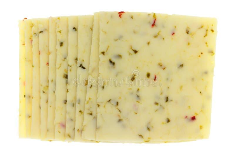 Plusieurs tranches de vue supérieure de fromage Jack de poivre images stock