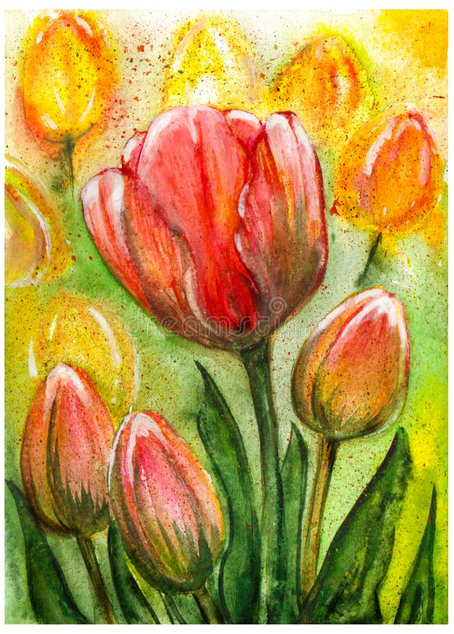 Plusieurs tulipes rouges et jaunes sur un fond coloré watercolor handmade illustration libre de droits