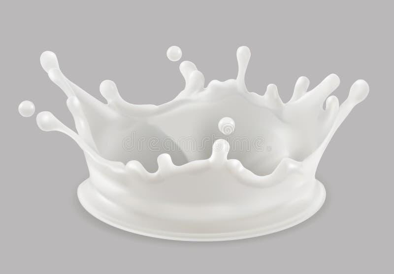 plusk mleka przygotowywa ikonę royalty ilustracja