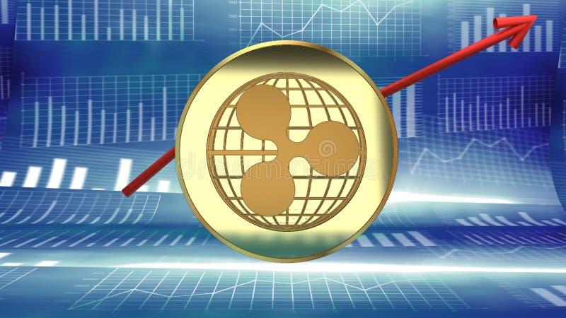 Pluskocze mapę, internet nowa cyfrowa moneta, wzrastający w wartości rynkowej i popularności ilustracji