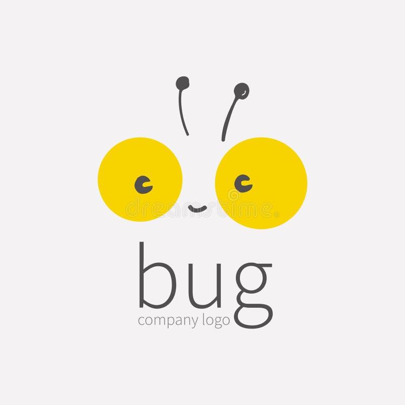 Pluskwa logo, insekt ikona Uśmiechnięta śliczna mała twarz, Kawai, liniowy kreskówki tipster Symbol dla firmy, dla cyfrowego i dr ilustracji