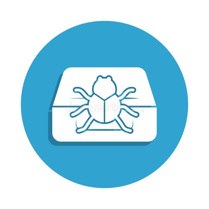 pluskwa na komputerowej ikonie w odznaka stylu Jeden cyber ochrony inkasowa ikona może używać dla UI, UX ilustracji