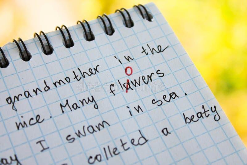Pluskwa załatwia w czerwonym piórze w notatniku zdjęcia stock