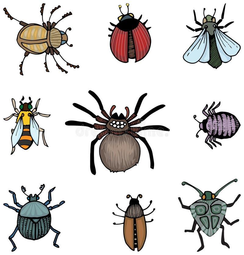 Pluskwy i insekty ilustracja wektor