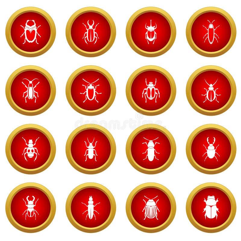 Pluskwy ikony okręgu czerwony set ilustracja wektor