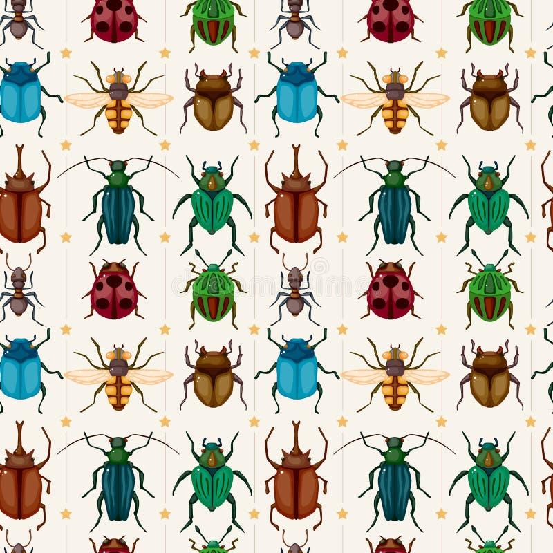 pluskwy kreskówki insekta wzór bezszwowy ilustracja wektor