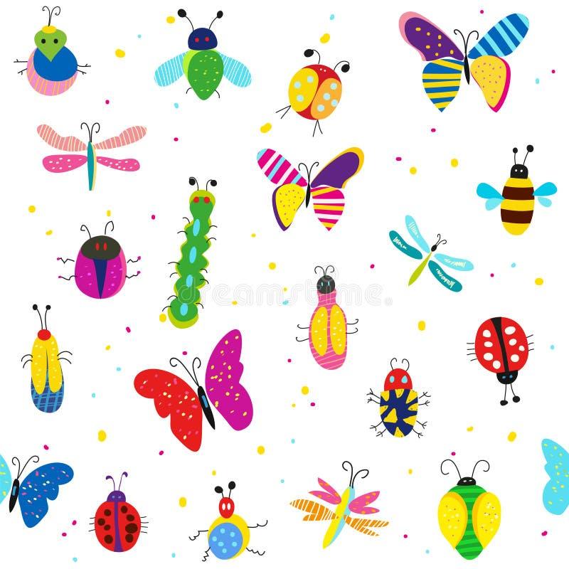 Pluskwy, motyle i inny insekta bezszwowy wzór, śliczny projekt również zwrócić corel ilustracji wektora royalty ilustracja