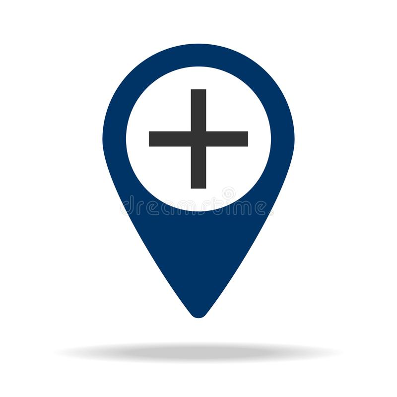 plusteken in het blauwe pictogram van de kaartspeld Element van kaartpunt voor mobiel concept en Web apps Pictogram voor websiteo royalty-vrije illustratie