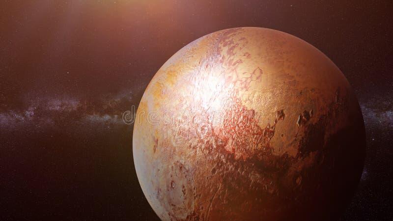 Plutão do planeta do anão, planeta anterior do Sun, parte da galáxia da Via Látea foto de stock royalty free