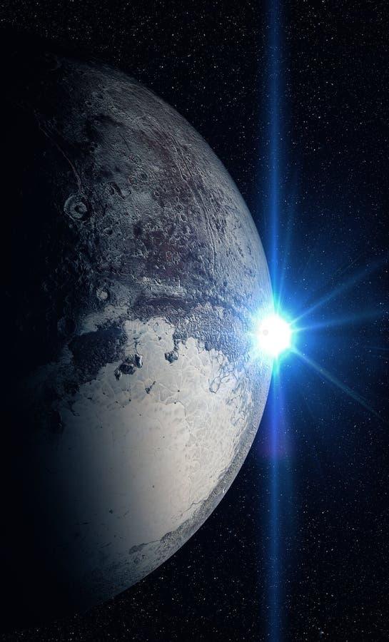 Pluto που πυροβολείται από το διάστημα διανυσματική απεικόνιση