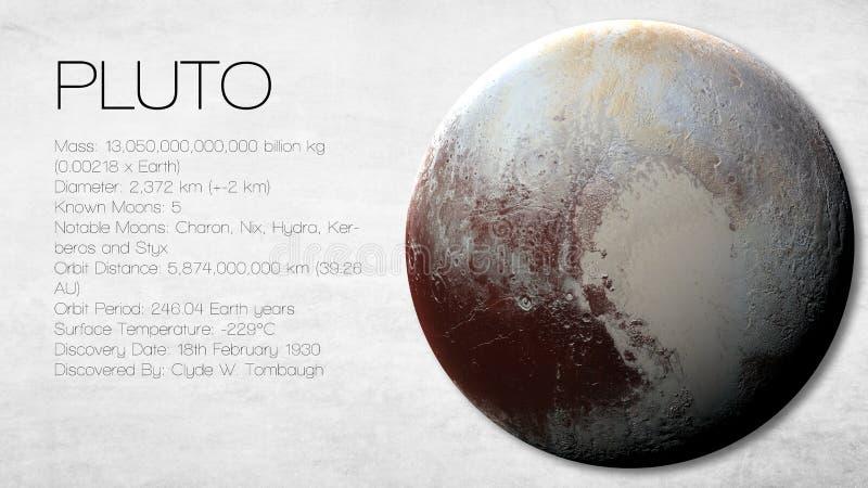 Pluto - de Hoge resolutie Infographic stelt voor royalty-vrije stock fotografie