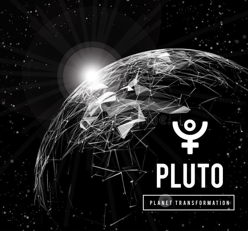 Pluto, de planeet verantwoordelijk in astrologie voor de transformatie, wedergeboorte, de collectieve energie van de massa's Vect stock illustratie
