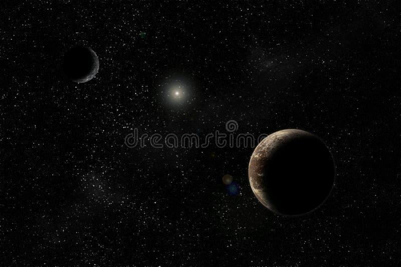 Pluto en Charon stock afbeeldingen
