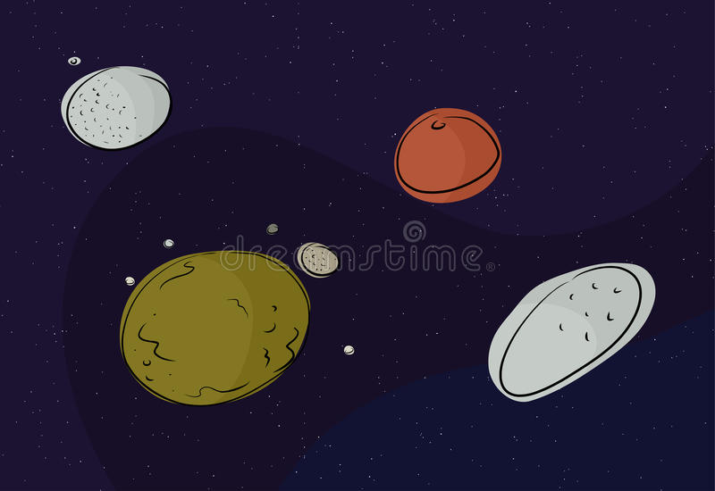 Pluto and Other Dwarf Planets stock illustration