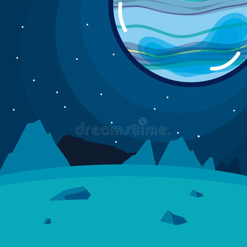 Pluto planet seen from ground. Scenery cartoon vector illustration graphic design stock illustration