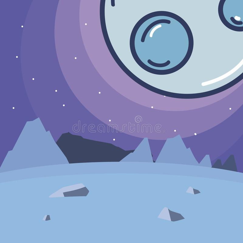 Pluto planet seen from ground. Scenery cartoon vector illustration graphic design vector illustration
