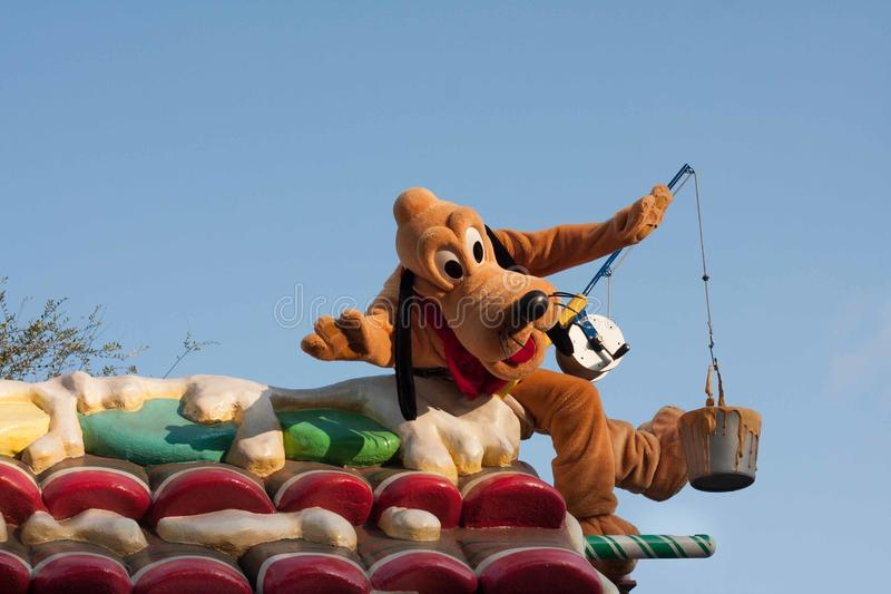 Pluto the Pup on float in Disneyland Parade stock photos
