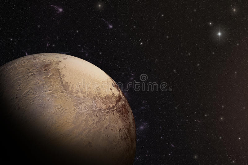 The Pluto shot from space stock illustration