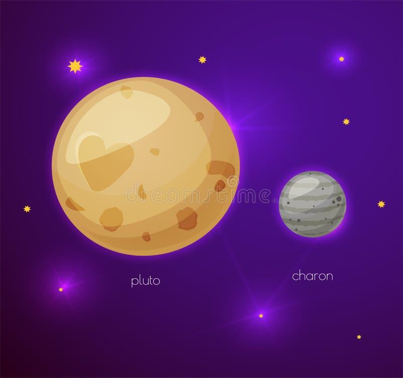Pluto und sein Mond Charon, Raumgegenstände stock abbildung