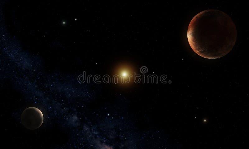 Pluto y Charon stock de ilustración