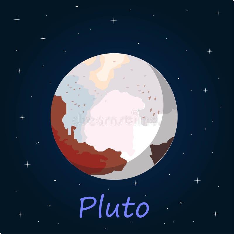 Pluton jest karłowatym planetą w Kuiper pasku, pierścionek bodies poza Neptune Ja był f royalty ilustracja