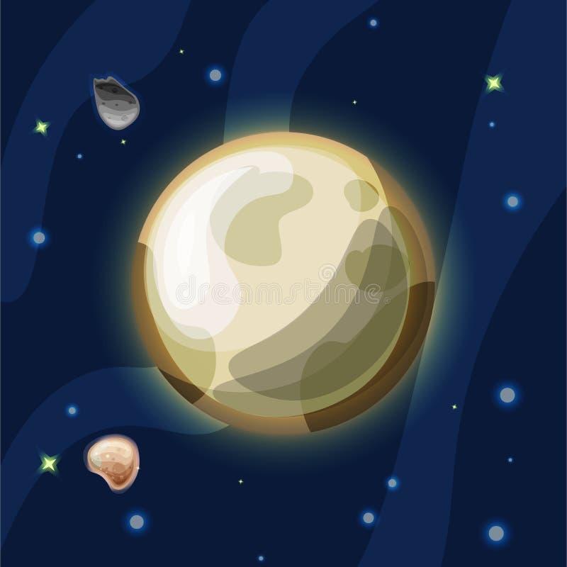Pluton kreskówki wektorowa ilustracja Plutonus lub Pluton, - karłowata planeta układ słoneczny w zmroku błękita głębokiej przestr ilustracja wektor