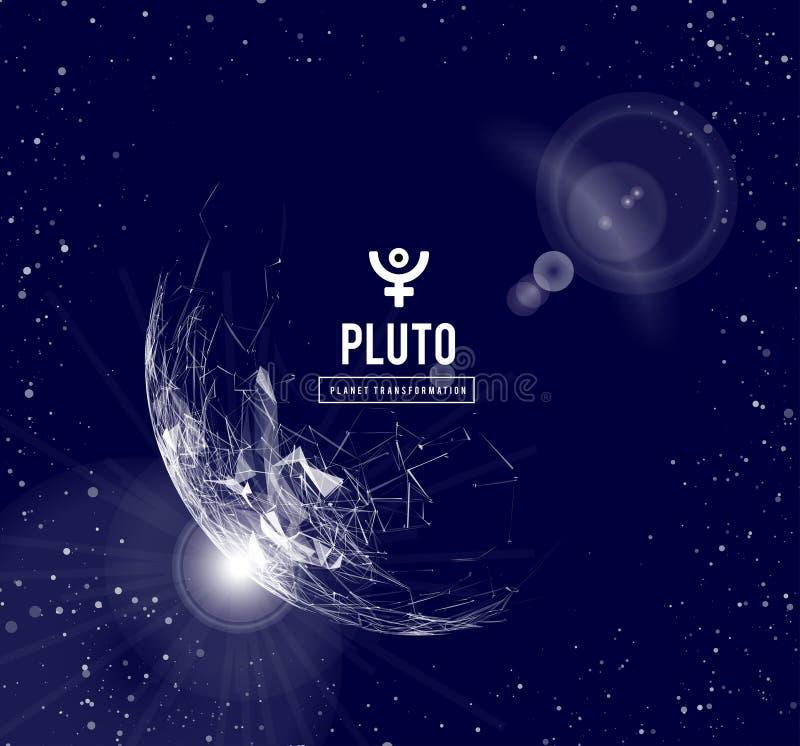 Pluton planeta odpowiedzialna w astrologii dla transformacji, odradzanie wspólna energia masy wektor royalty ilustracja