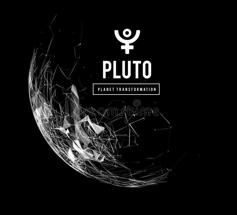 Pluton planeta odpowiedzialna w astrologii dla transformacji, odradzanie wspólna energia masy wektor ilustracji