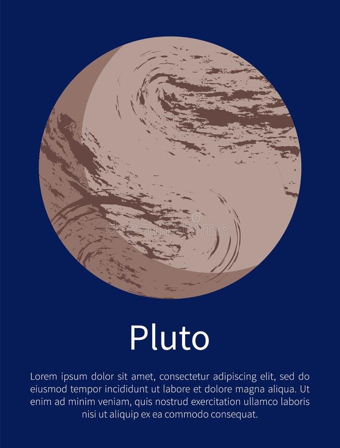 Pluton planety Pouczający plakat z próbka tekstem royalty ilustracja