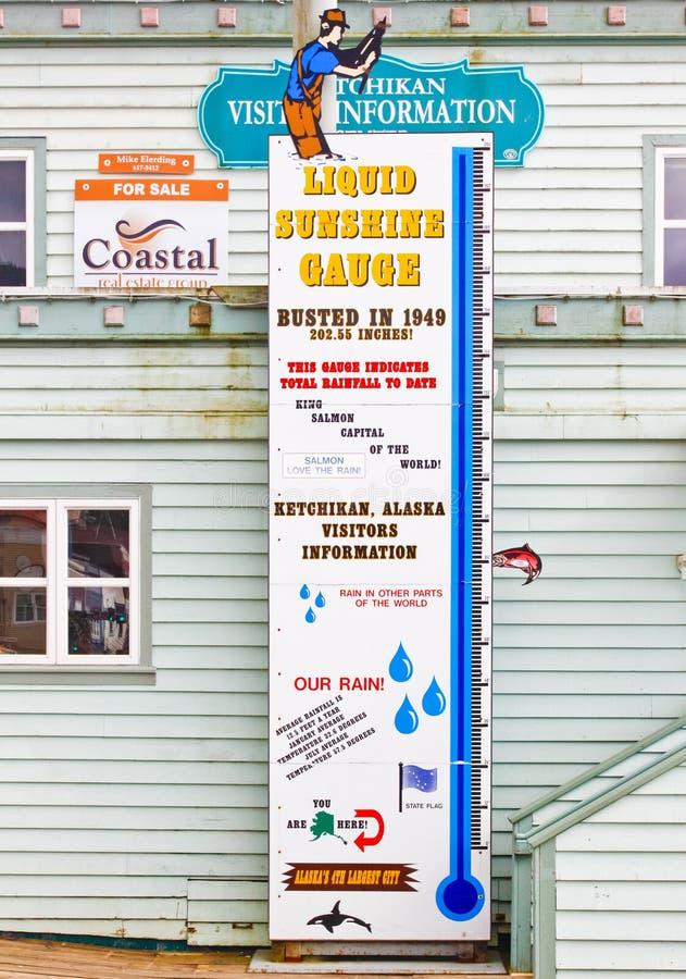 Pluviometro liquido del sole dell'Alaska Ketchikan immagine stock libera da diritti