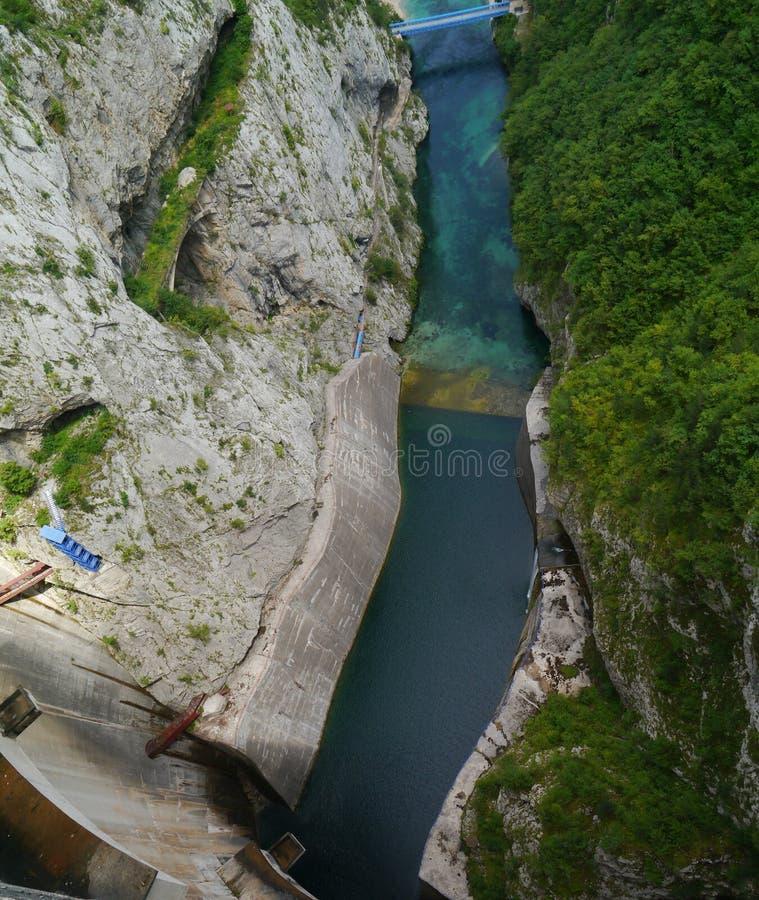 Pluzine dam in Montenegro. Dam in Gorge, Pluzine E762 road in Montenegro stock photo