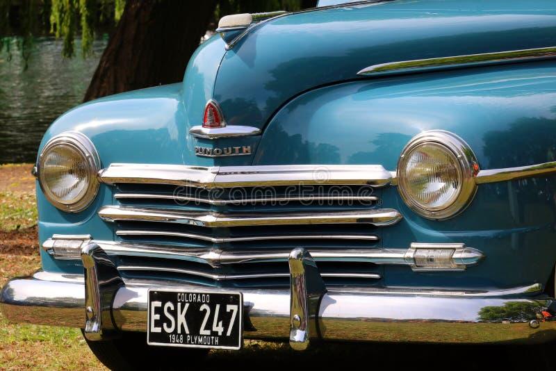 Plymouth-Auto bei Bedford Festival des Fahrens 2019 lizenzfreie stockfotos