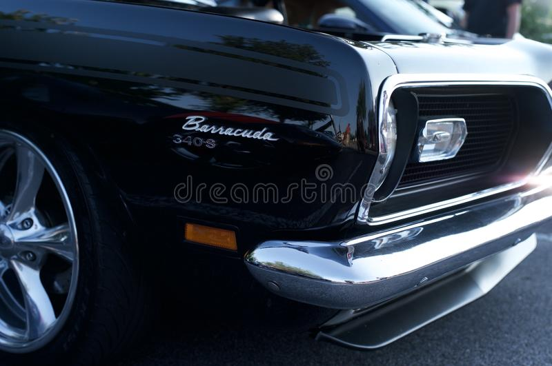 Plymouth Barracuda With Engine Displayed Editorial Image