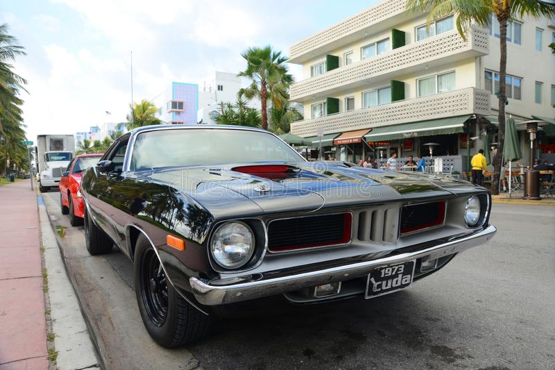 1973 Plymouth Barracuda in Miami Beach royalty free stock image
