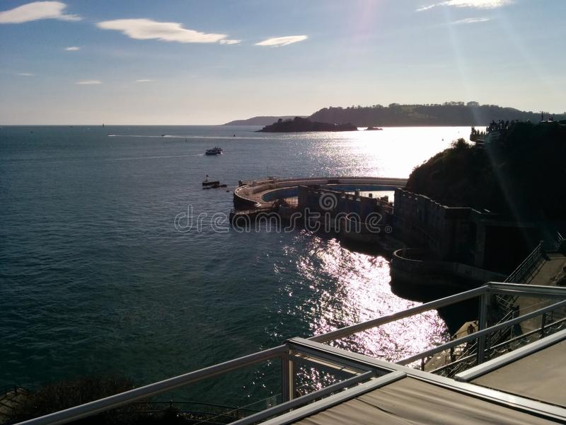 Plymouth coastline. Shot of the Plymouth coastline focused on Tinside Lido stock images