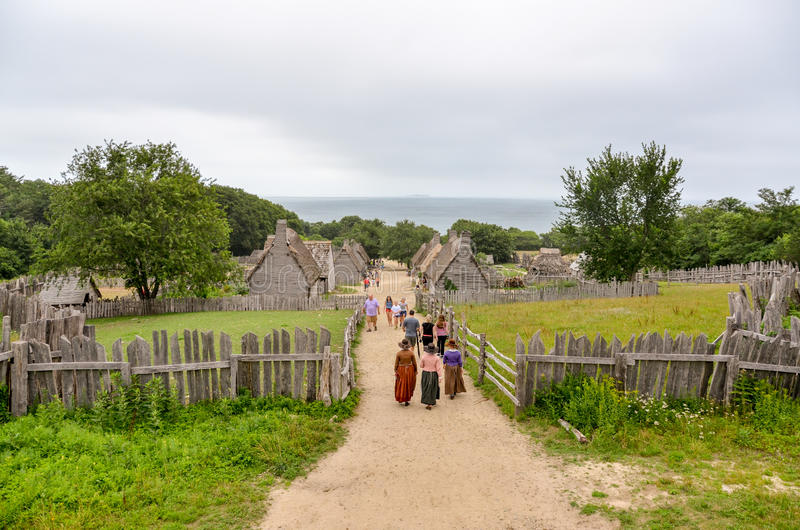 Plymouth Colony - Plymouth MA. Time rolls back nearly 400 years at Plimoth Colony in Plymouth, MA. The year is 1627 and the New England pilgrims are living side stock images
