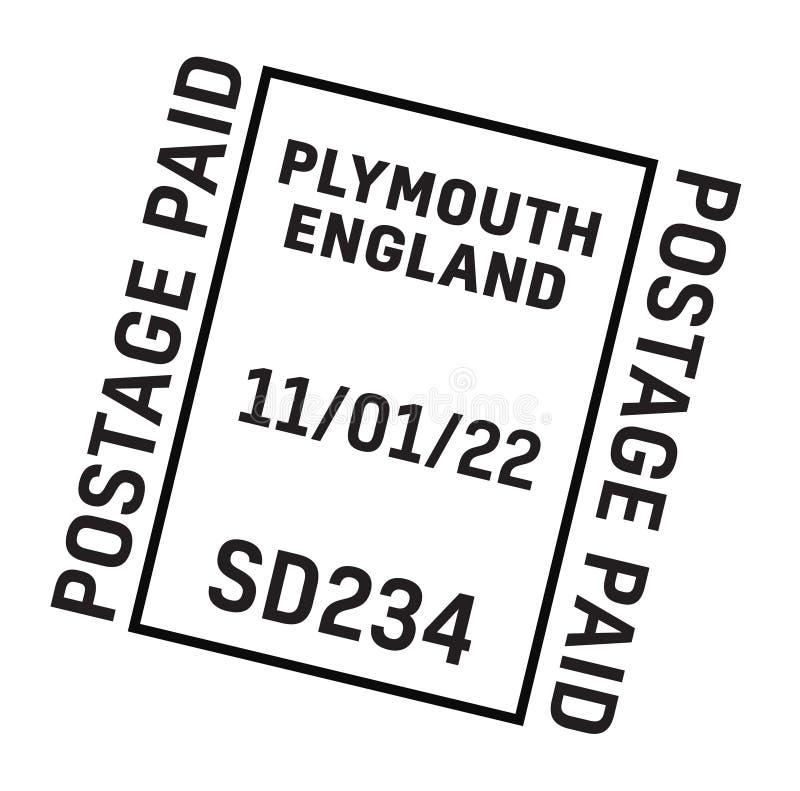 PLYMOUTH, de postbestellingszegel van ENGELAND royalty-vrije illustratie