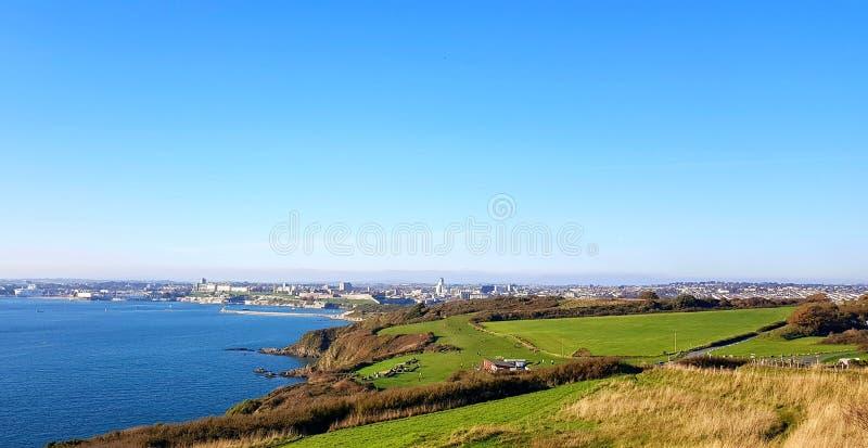 Plymouth Jennycliff van de weg van de zuidwestenkust, Devon, het UK stock afbeelding