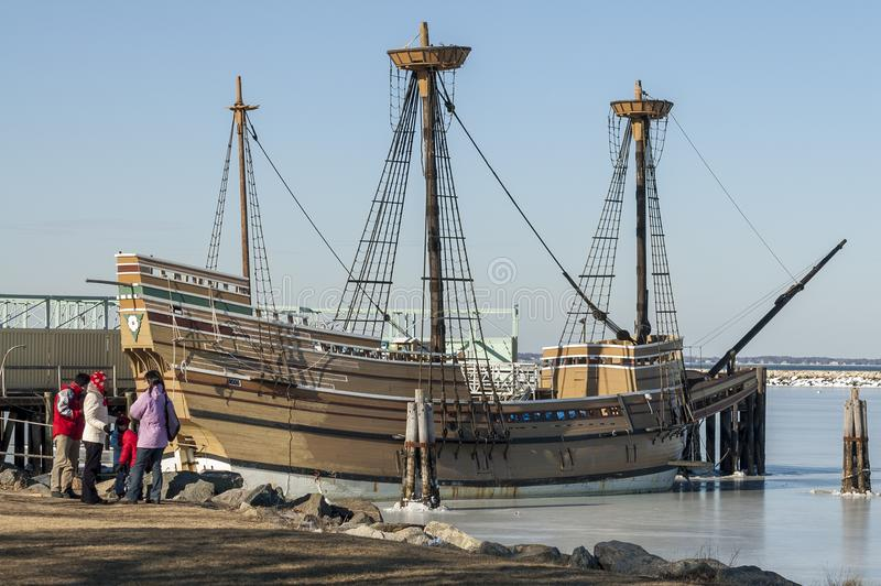 Mayflower II docked in Plymouth with the harbor frozen royalty free stock photos