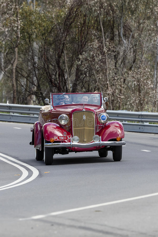 1934 plymouth PE Roadster. Adelaide, Australia - September 25, 2016: Vintage 1934 plymouth PE Roadster driving on country roads near the town of Birdwood, South stock image